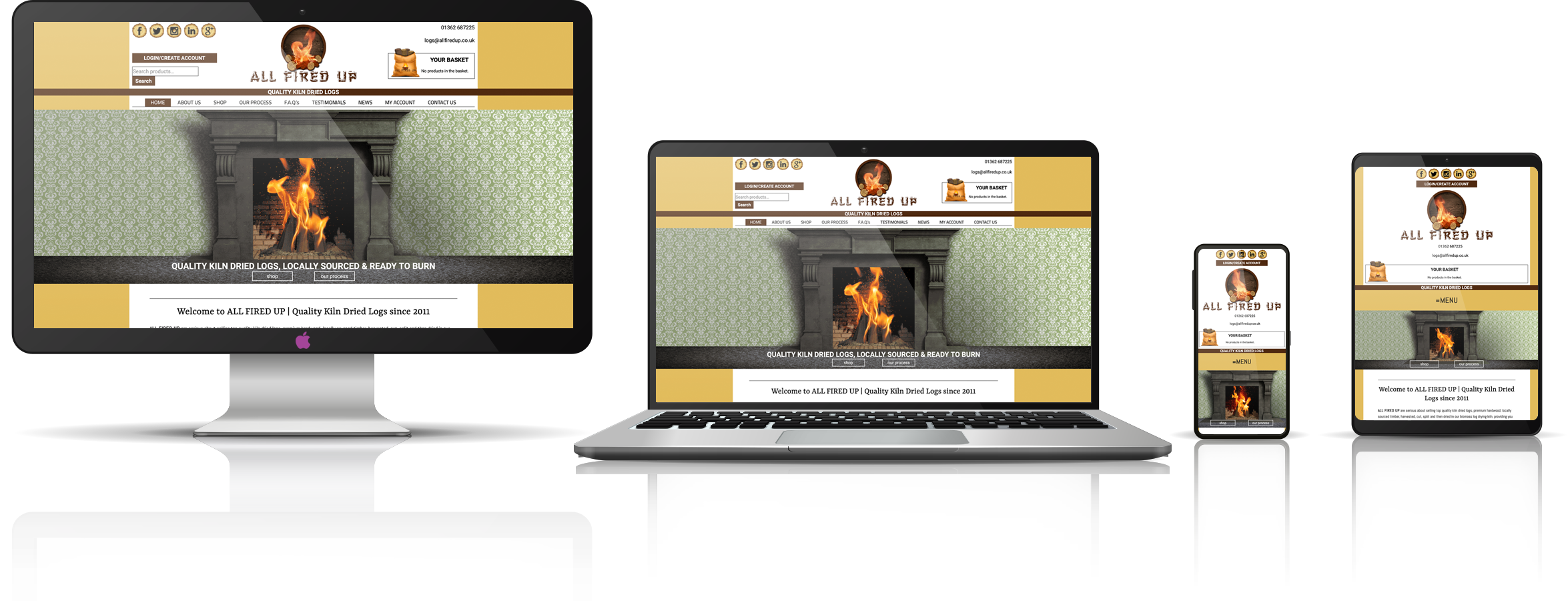 The All Fired Up fully responsive mock-up images showing desktop, laptop, tablet, and mobile phone devices.