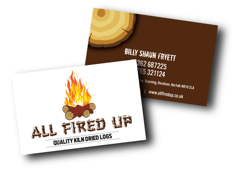 The All Fired Up business card design created by the Visualise Creative studio in Norwich