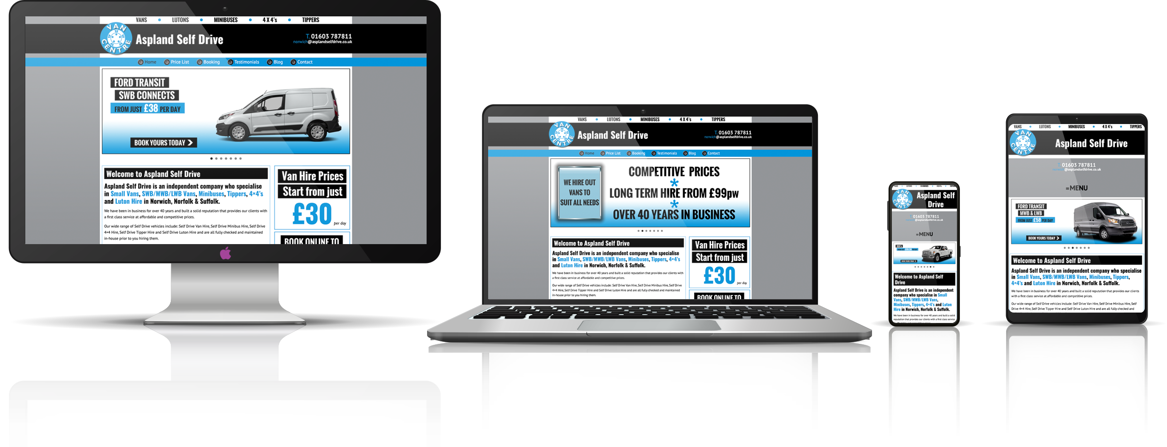 The Aspland Self Drive fully responsive mock-up images showing desktop, laptop, tablet, and mobile phone devices.