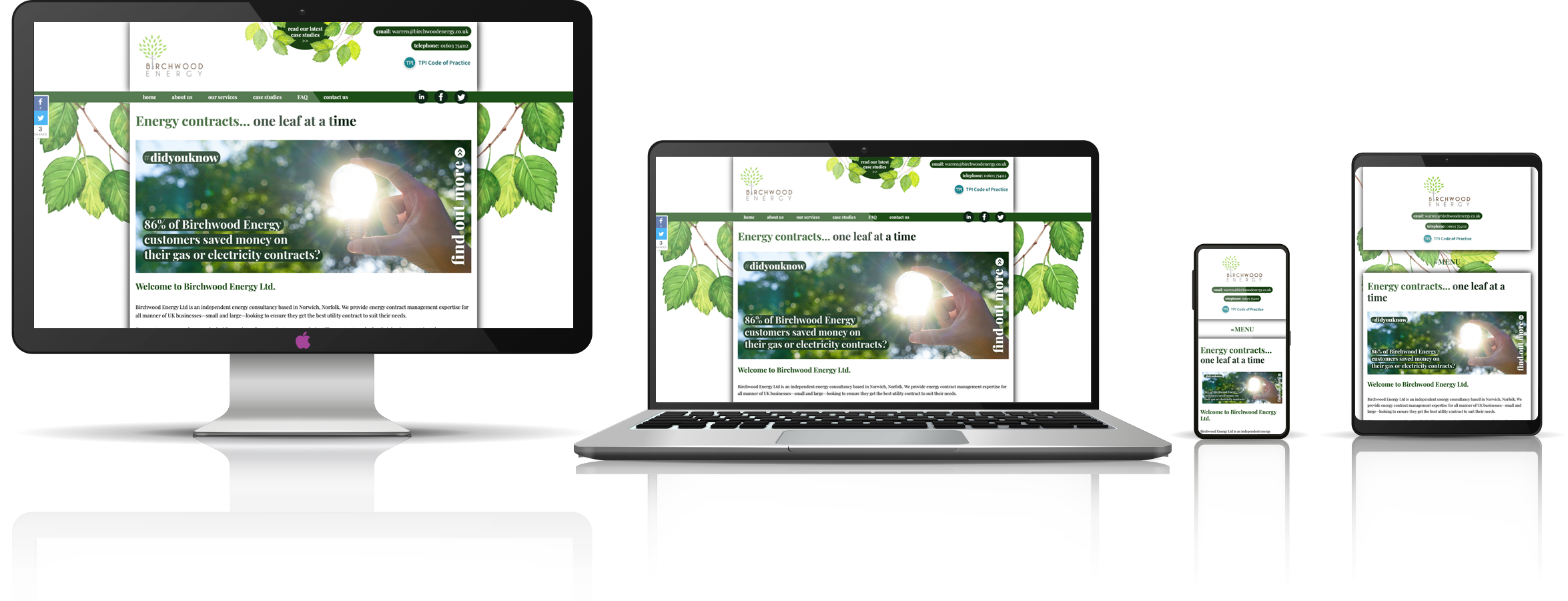 The Birchwood Energy fully responsive mock-up images showing desktop, laptop, tablet, and mobile phone devices.