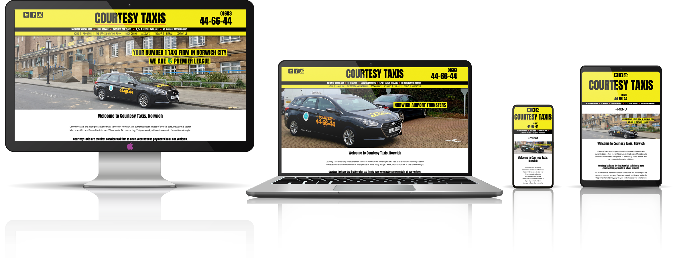 The Courtesy Taxis fully responsive mock-up images showing desktop, laptop, tablet, and mobile phone devices.