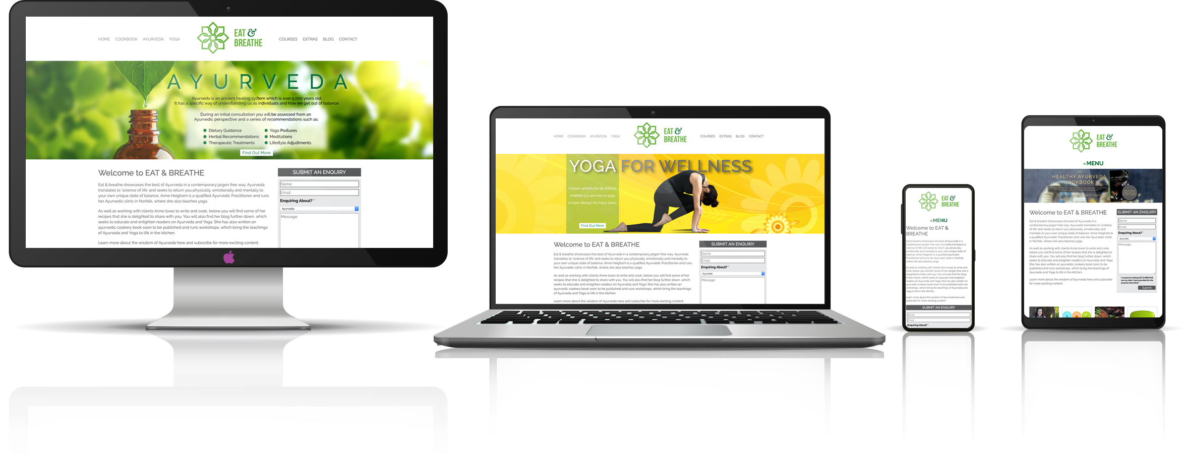 The Eat & Breathe fully responsive mock-up images showing desktop, laptop, tablet, and mobile phone devices.