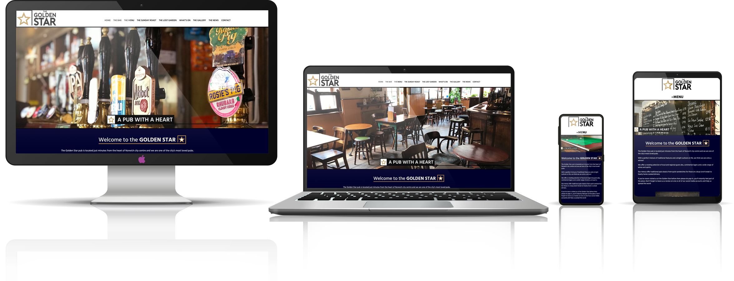 The Golden Star independent Norwich pubs fully responsive mock-up images showing desktop, laptop, tablet, and mobile phone devices.