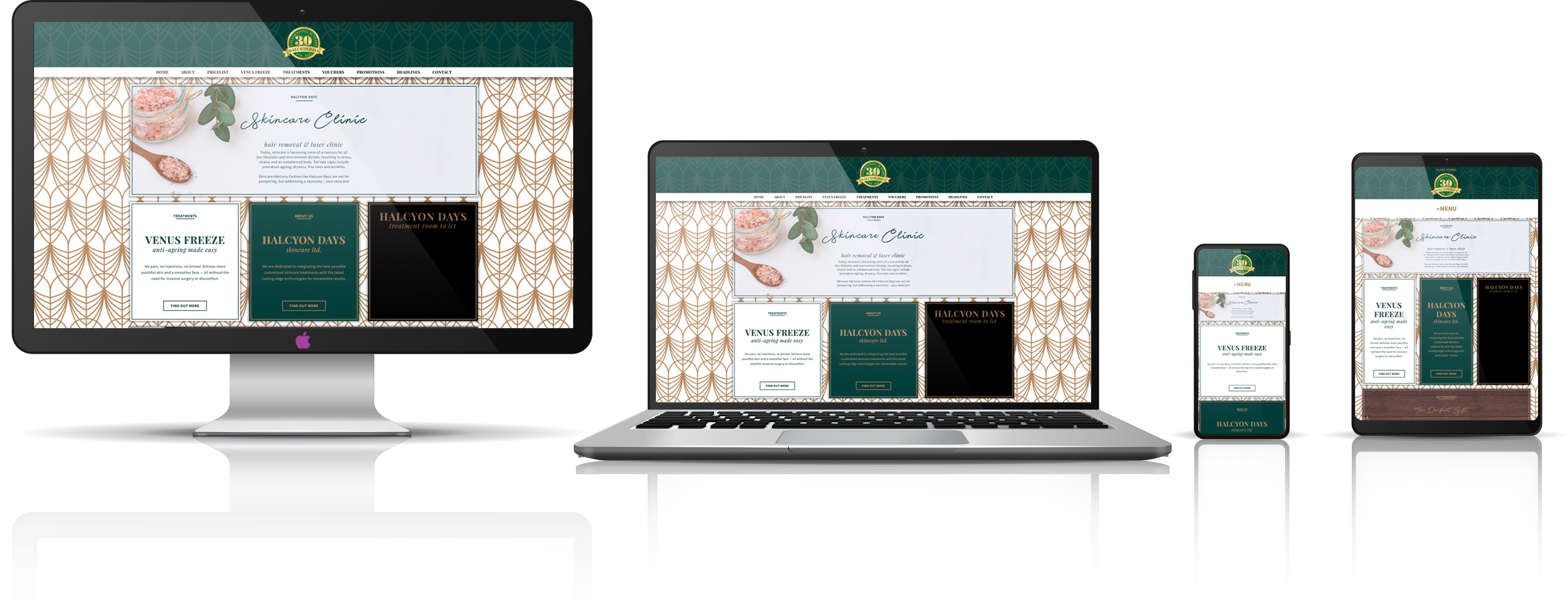 The Halcyon Days Skincare fully responsive mock-up images showing desktop, laptop, tablet, and mobile phone devices.