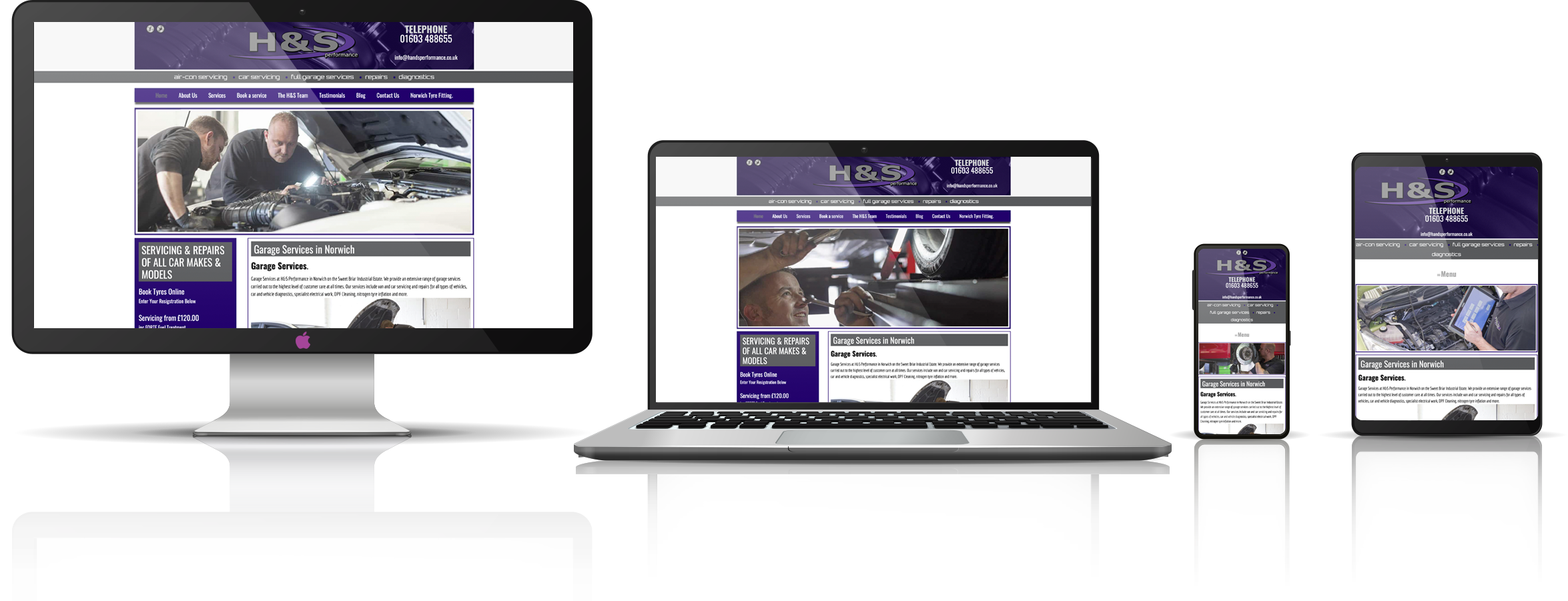 The H&S Performance fully responsive mock-up images showing desktop, laptop, tablet, and mobile phone devices.