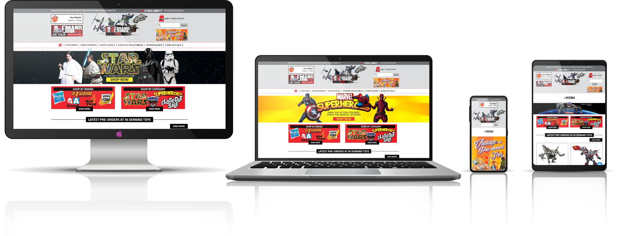 The In Demand Toys fully responsive mock-up images showing desktop, laptop, tablet, and mobile phone devices.