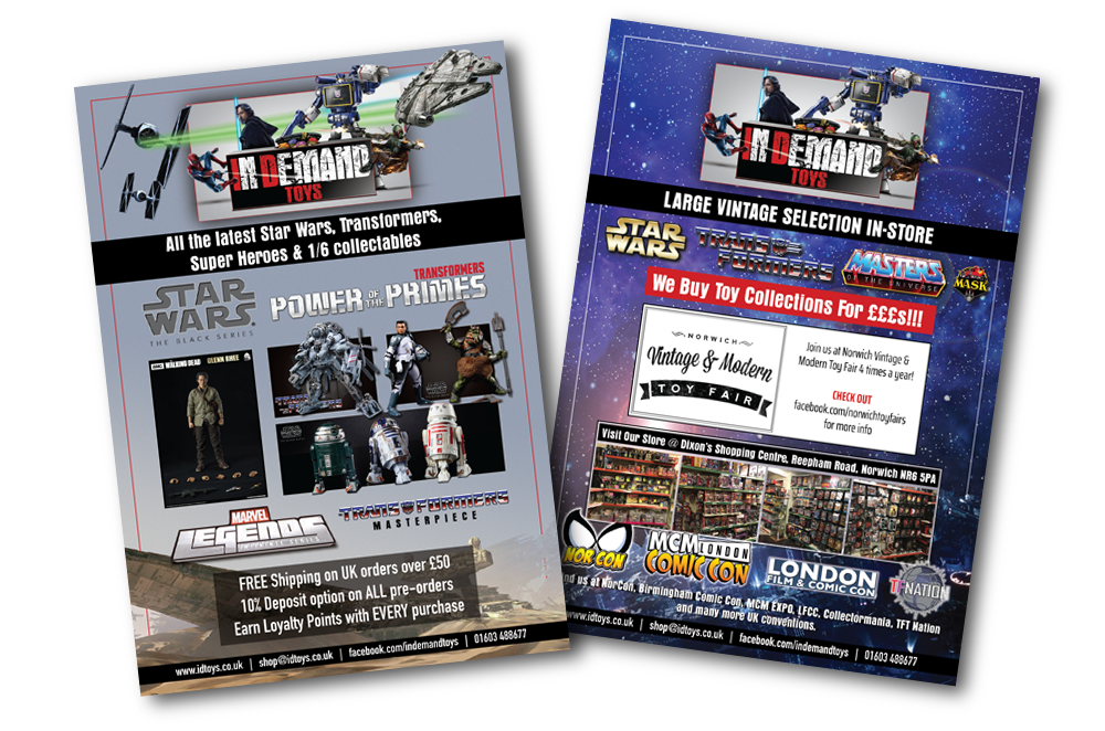 The In Demand Toys full-colour flyers