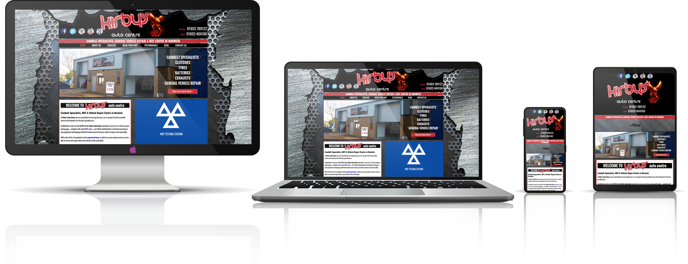 The Kirby's Auto Centre fully responsive mock-up images showing desktop, laptop, tablet, and mobile phone devices.