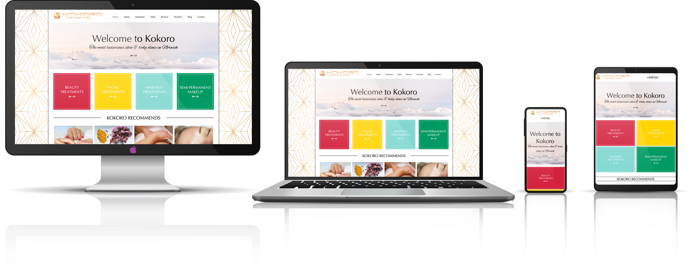 The KOKORO skin & body clinic fully responsive mock-up images showing desktop, laptop, tablet, and mobile phone devices.