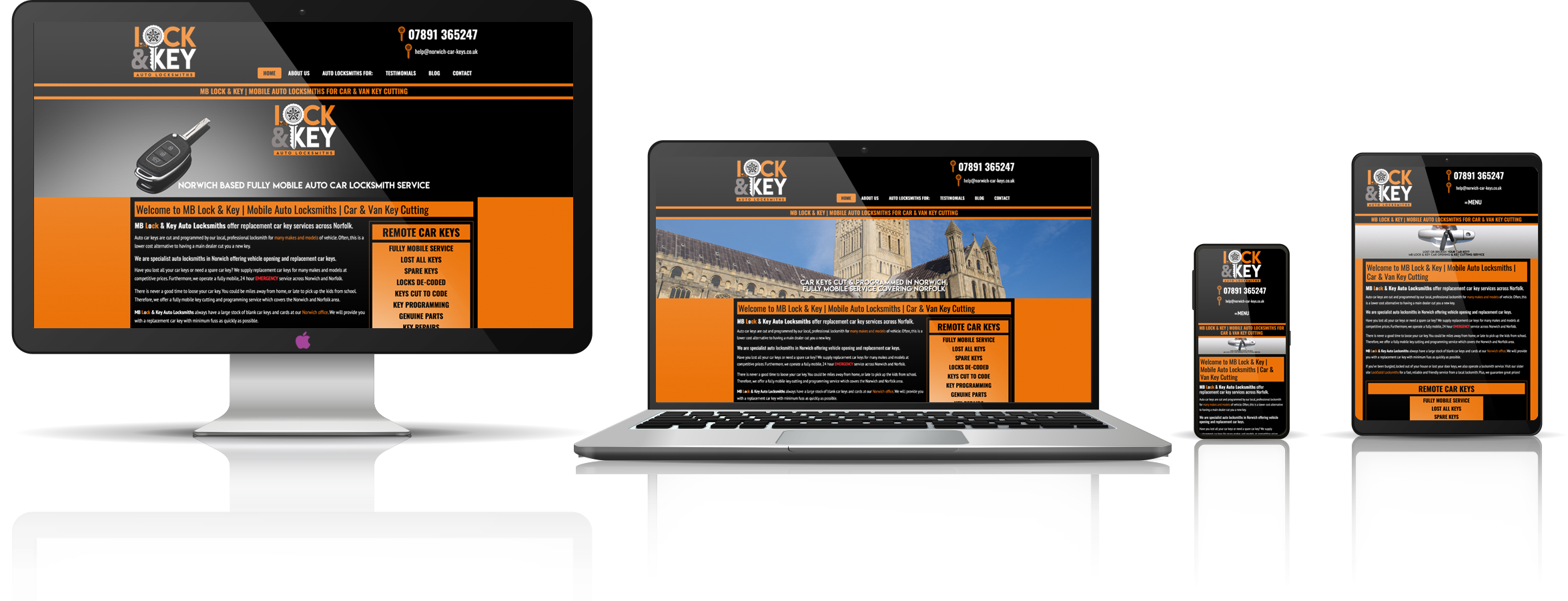 The Lock & Key fully responsive mock-up images showing desktop, laptop, tablet, and mobile phone devices.