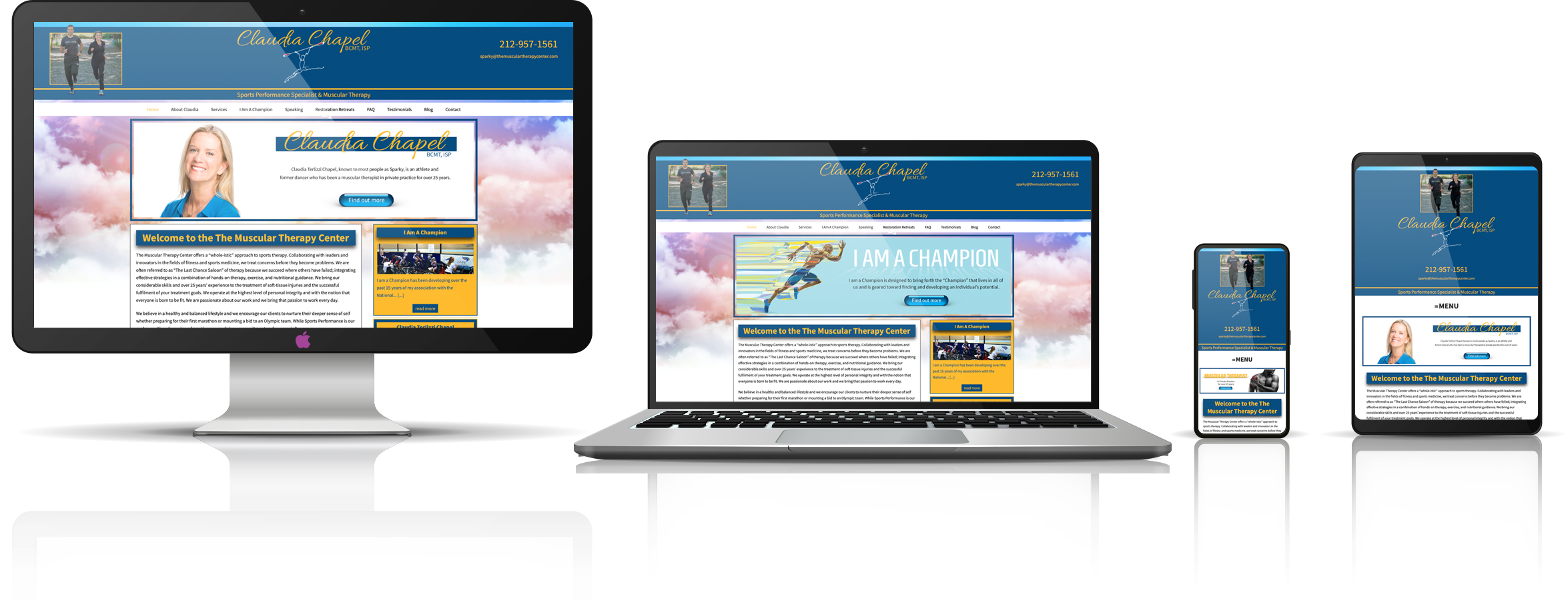 The Muscular Therapy Center fully responsive mock-up images showing desktop, laptop, tablet, and mobile phone devices.