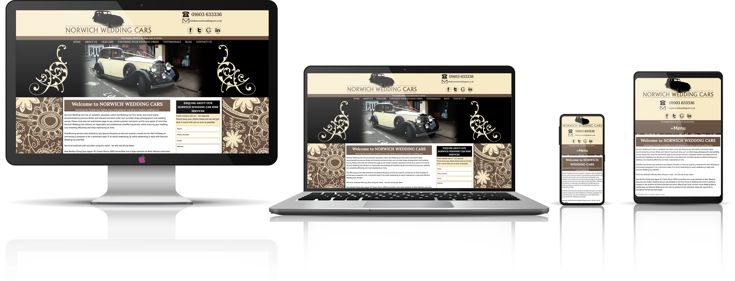 The Norwich Wedding Cars fully responsive mock-up images showing desktop, laptop, tablet, and mobile phone devices.