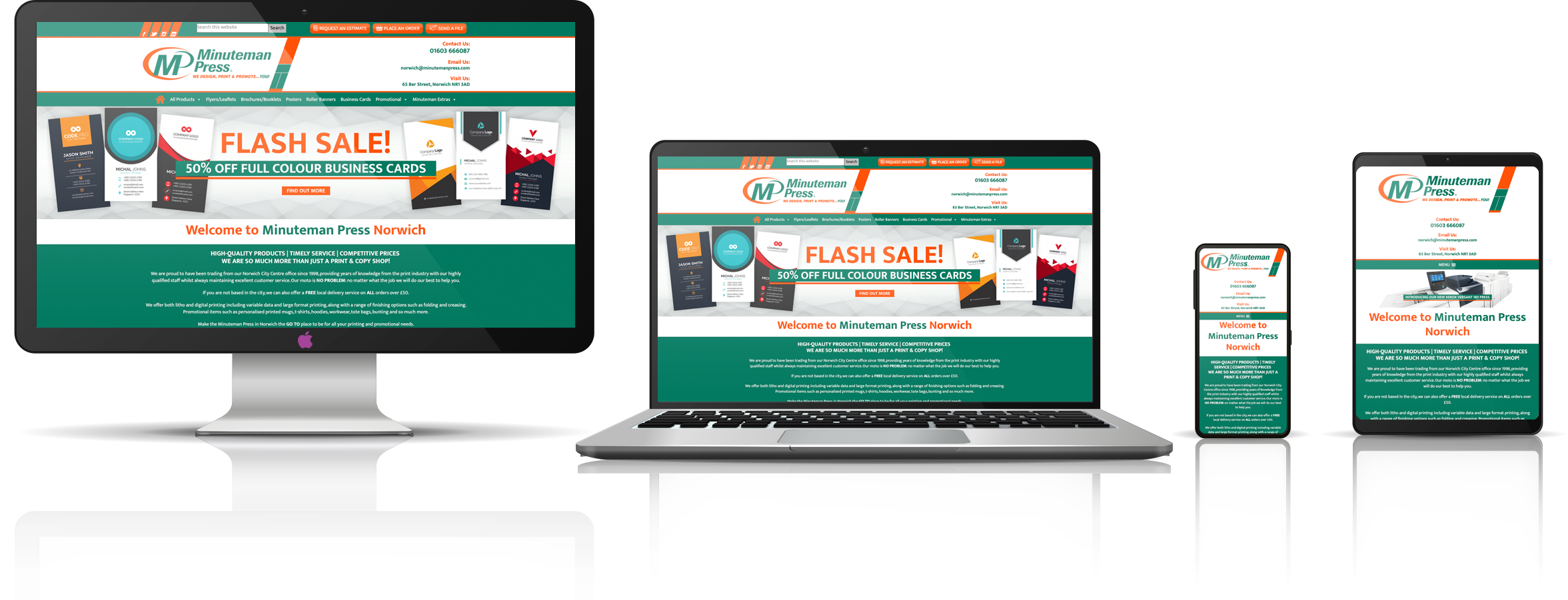 The Minuteman Press Norwich fully responsive mock-up image showing desktop, laptop, tablet, and mobile phone devices.