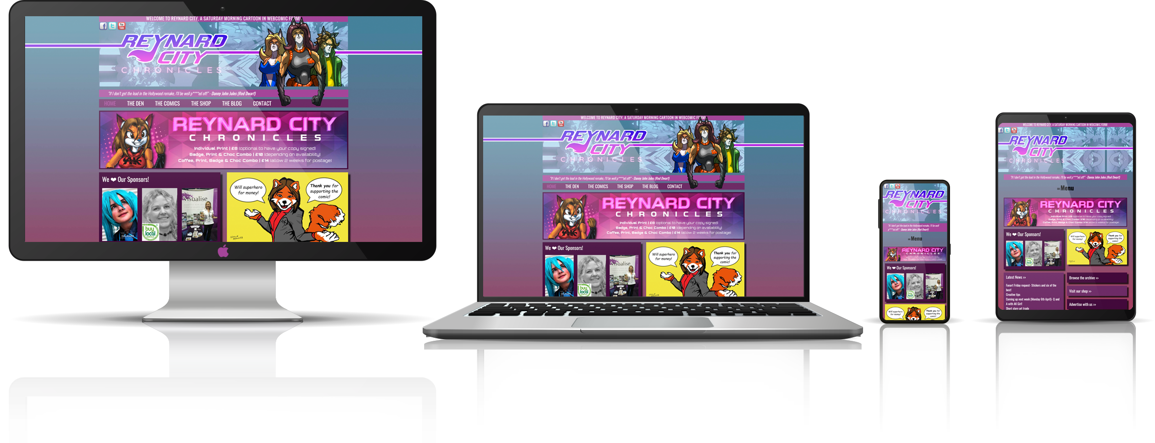 The Reynard City Chronicles fully responsive mock-up images showing desktop, laptop, tablet, and mobile phone devices.