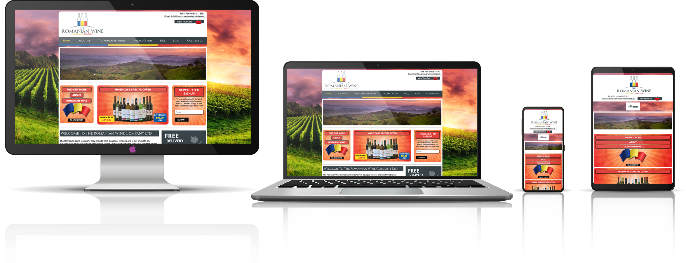 The Romanian Wine Company Limited fully responsive mock-up images showing desktop, laptop, tablet, and mobile phone devices.