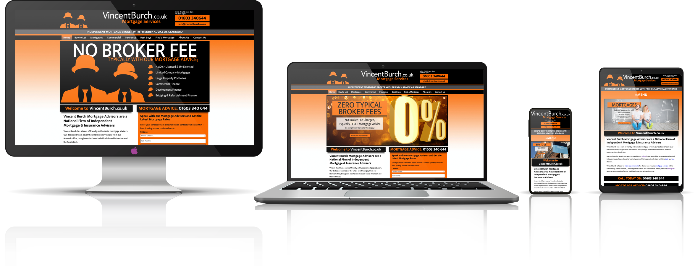 The Vincent Burch Mortgage Services fully responsive mock-up images showing desktop, laptop, tablet, and mobile phone devices.