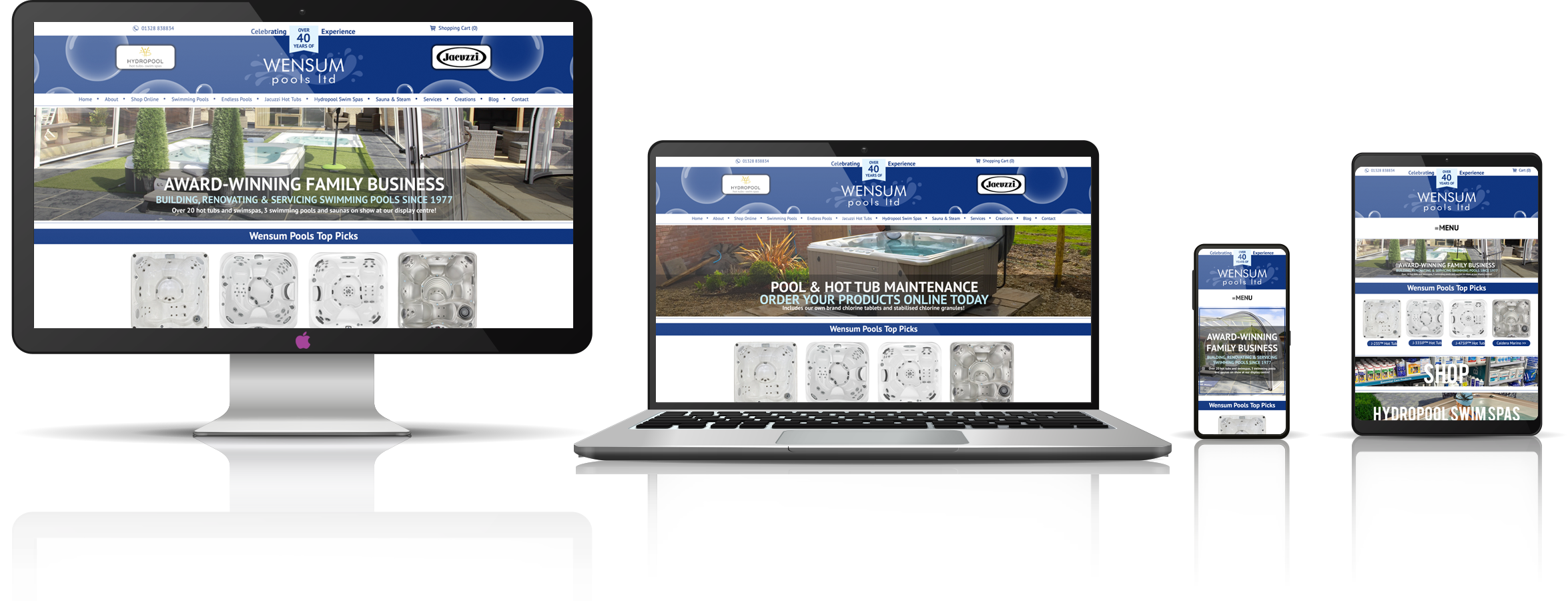 The Wensum Pools Ltd, suppliers of swimming pools, and hot tubs fully responsive mock-up images showing desktop, laptop, tablet, and mobile phone devices.
