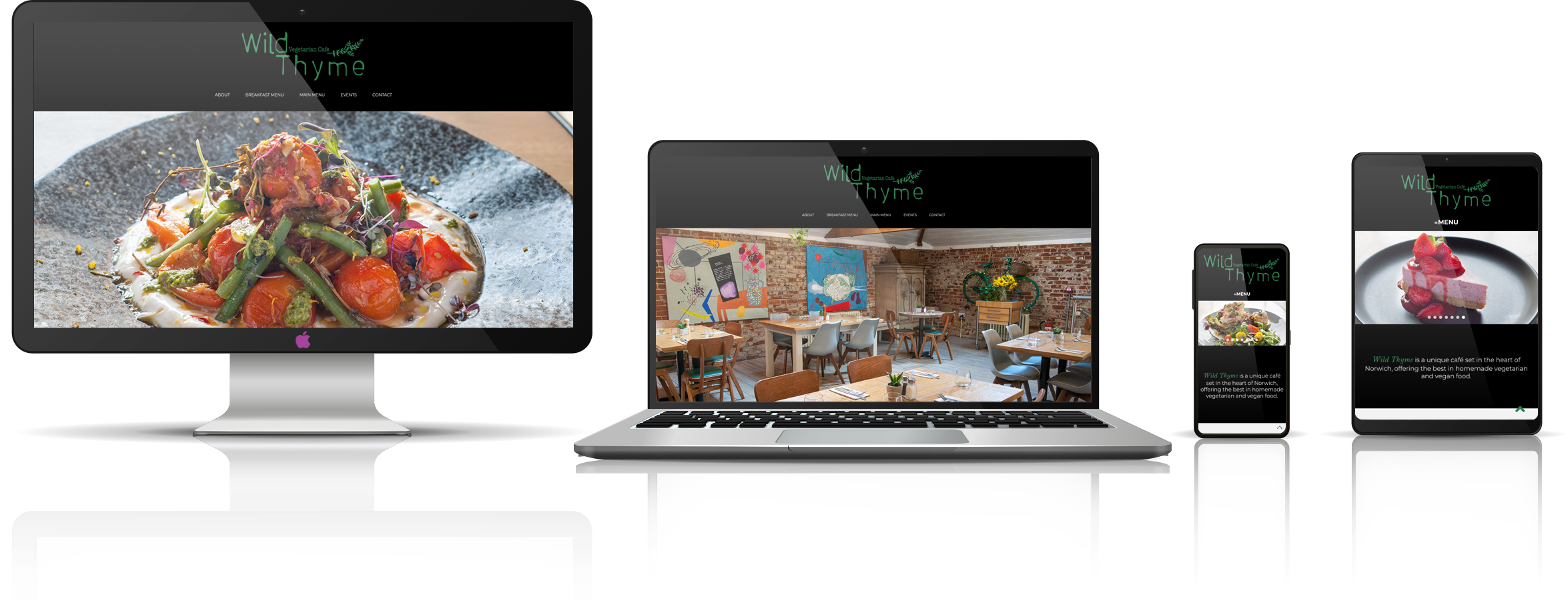 The Wild Thyme Veteraian Cafe fully responsive mock-up images showing desktop, laptop, tablet, and mobile phone devices.