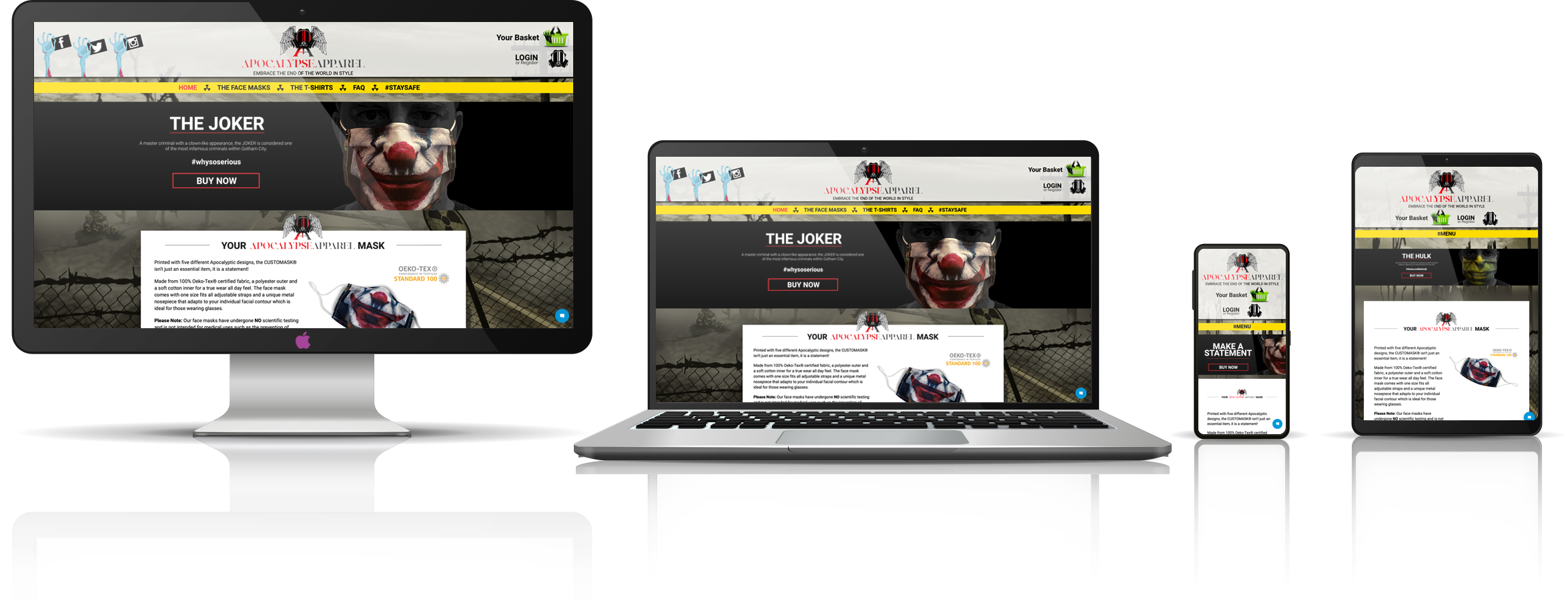 iMac, MacBook, iPhone and iPad responsive design for Apocalypse Apparel
