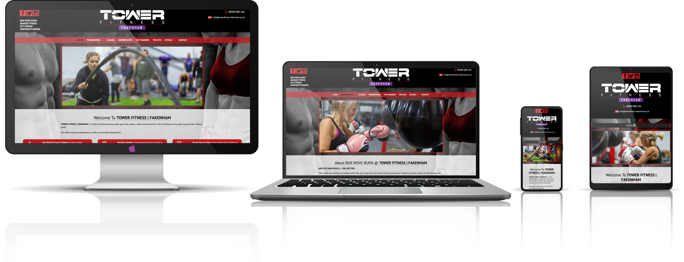 Fully responsive view of Tower Fitness Fakenham Gym, the latest project launch by visualise creative