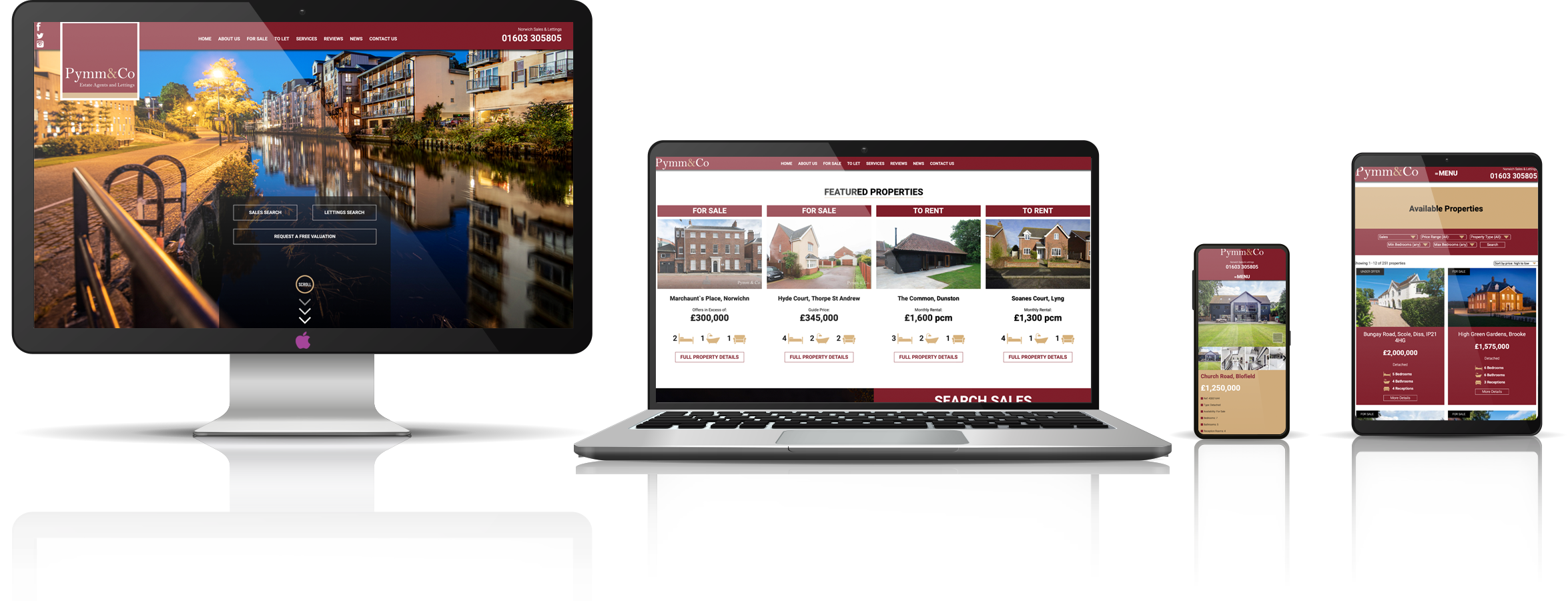 Responsive mock up view of the new Pymm & Co Estate Agents and Lettings website