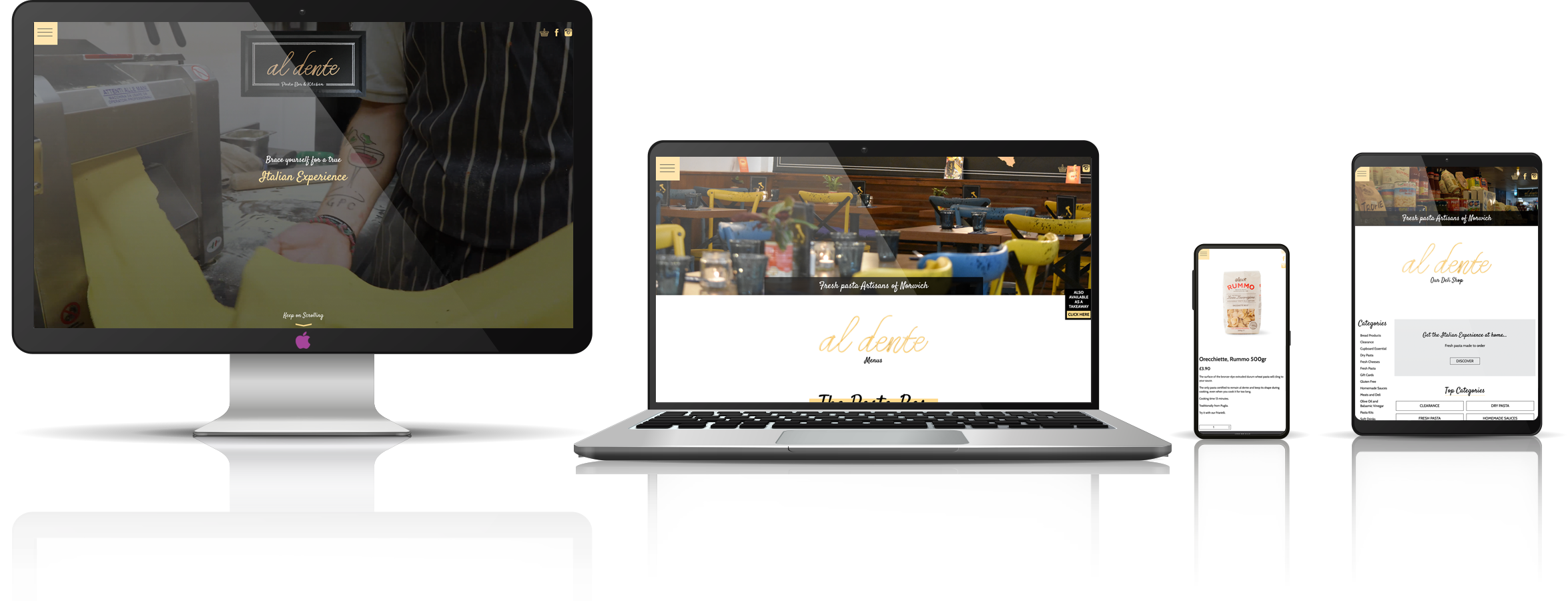 Al Dente Norwich fully responsive new website